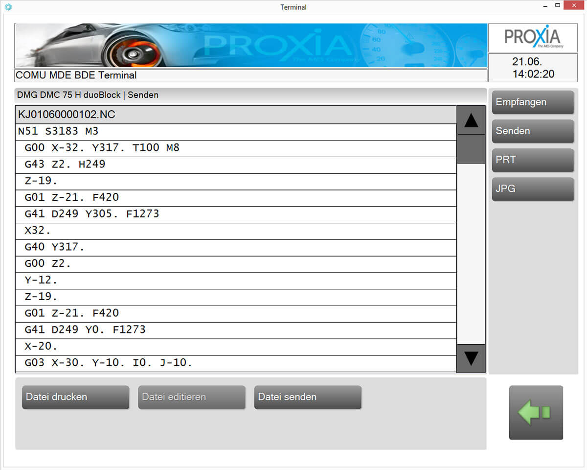 PROXIA DNC Software – zobrazení softwaru 6