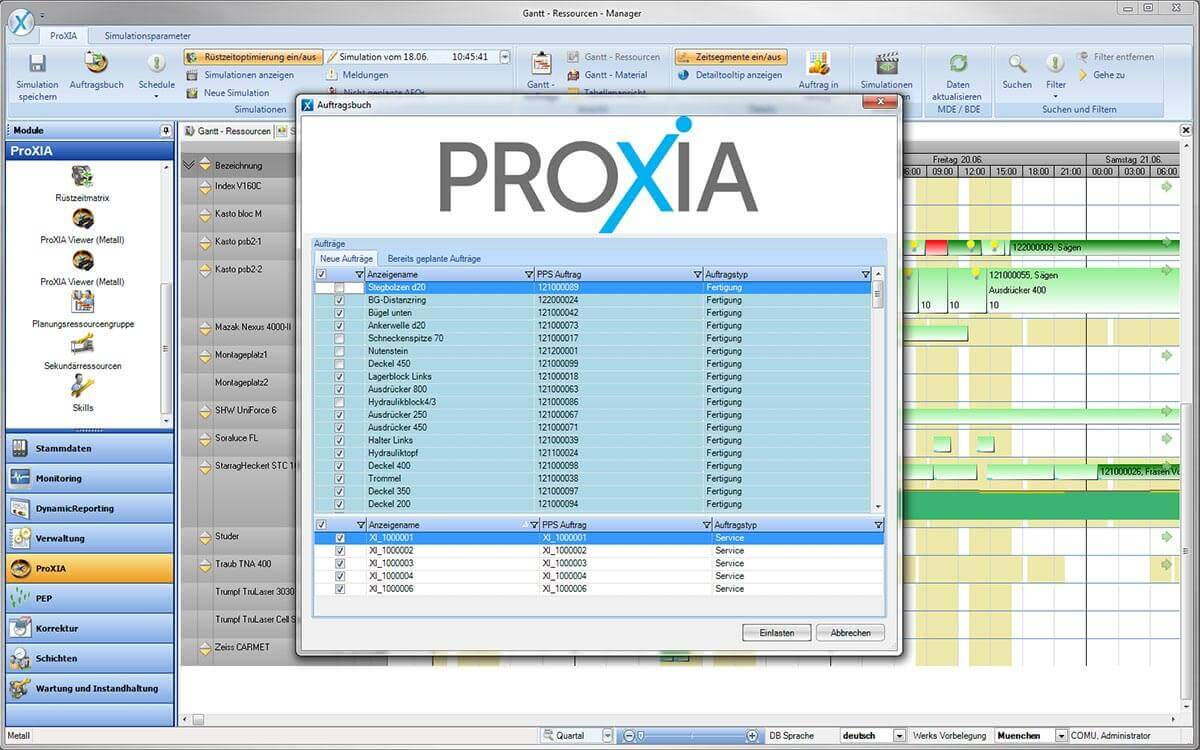 PROXIA Produkt Leitstand-Feinplanung Software-Impression 16