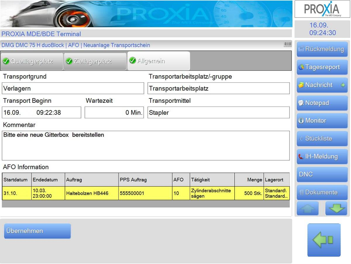 PROXIA Product Internal transport logistics software impression 1