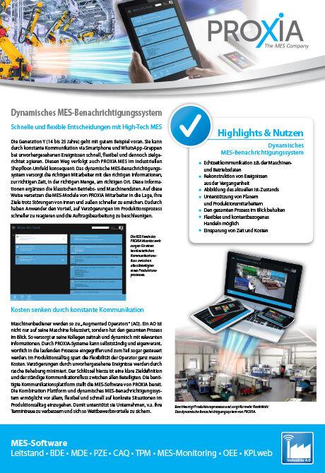 PROXIA Flyer Dynamisches MES-Benachrichtigungssystem